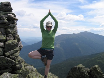tree pose atop Mt. Madison in the White Mountains of New Hampshire